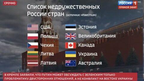 【画像】ロシアの国営テレビさん、非友好国を堂々と公開してしまうww